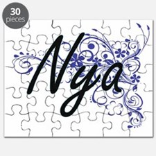 Nya Artistic Name Design with Flowers Puzzle