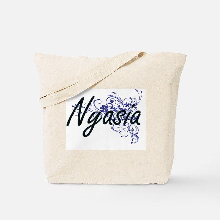 Nyasia Artistic Name Design with Flowers Tote Bag