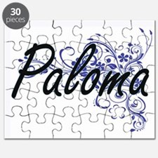 Paloma Artistic Name Design with Flowers Puzzle
