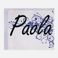 Paola Artistic Name Design with Flow Throw Blanket