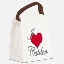 I love (heart) Caiden Canvas Lunch Bag