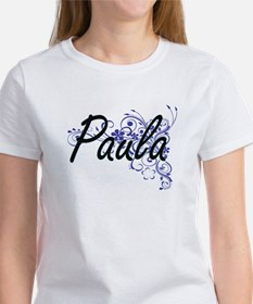 Paula Artistic Name Design with Flowers T-Shirt