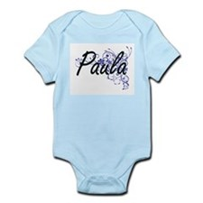 Paula Artistic Name Design with Flowers Body Suit