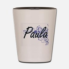 Paula Artistic Name Design with Flowers Shot Glass