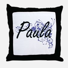 Paula Artistic Name Design with Flowe Throw Pillow