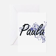 Paula Artistic Name Design with Flo Greeting Cards