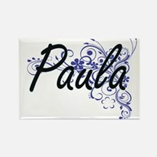 Paula Artistic Name Design with Flowers Magnets