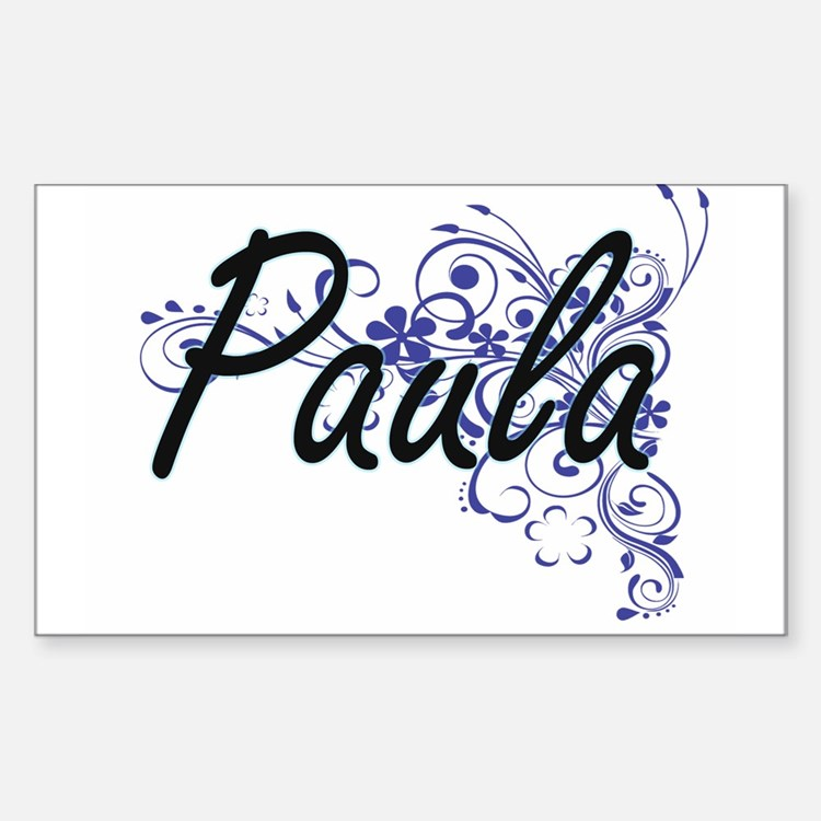 Paula Artistic Name Design with Flowers Decal