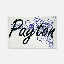 Payton Artistic Name Design with Flowers Magnets