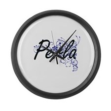 Perla Artistic Name Design with F Large Wall Clock