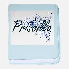 Priscilla Artistic Name Design with F baby blanket