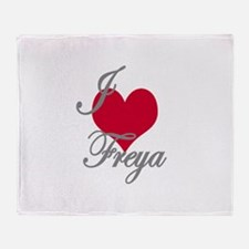 I love (heart) Freya Throw Blanket