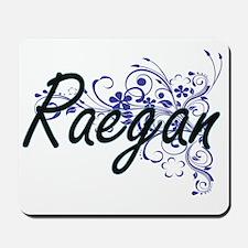 Raegan Artistic Name Design with Flowers Mousepad