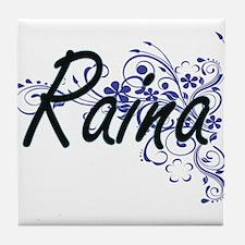 Raina Artistic Name Design with Flowe Tile Coaster