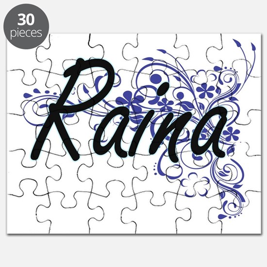 Raina Artistic Name Design with Flowers Puzzle