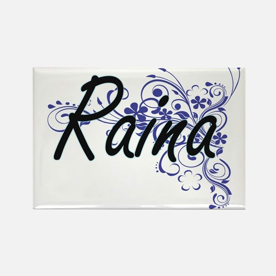 Raina Artistic Name Design with Flowers Magnets