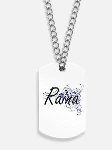 Raina Artistic Name Design with Flowers Dog Tags