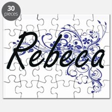 Rebeca Artistic Name Design with Flowers Puzzle
