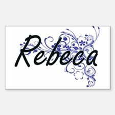 Rebeca Artistic Name Design with Flowers Decal
