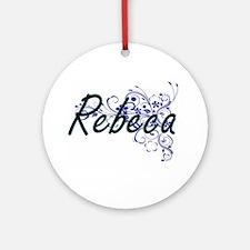 Rebeca Artistic Name Design with Fl Round Ornament
