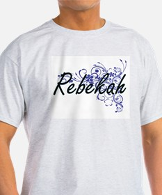 Rebekah Artistic Name Design with Flowers T-Shirt