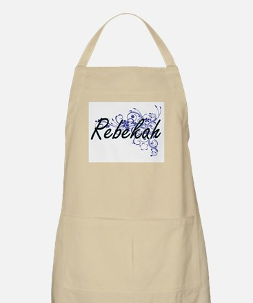 Rebekah Artistic Name Design with Flowers Apron
