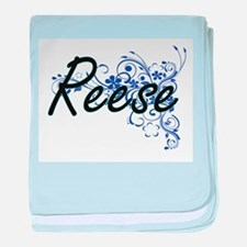 Reese Artistic Name Design with Flowe baby blanket