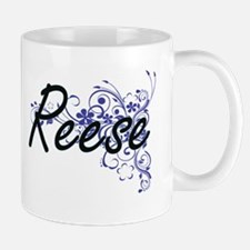 Reese Artistic Name Design with Flowers Mugs