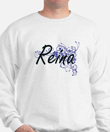 Reina Artistic Name Design with Flowers Sweater