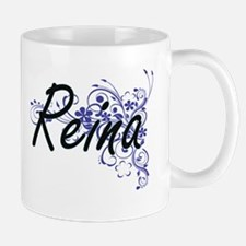 Reina Artistic Name Design with Flowers Mugs