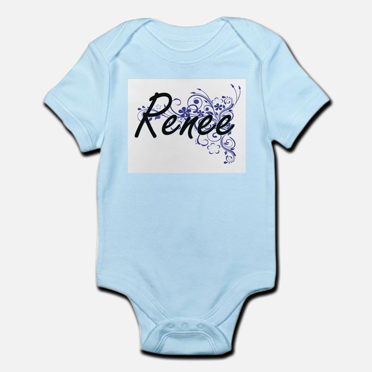 Renee Artistic Name Design with Flowers Body Suit