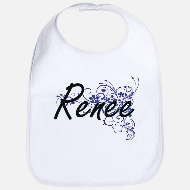 Renee Artistic Name Design with Flowers Bib