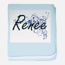 Renee Artistic Name Design with Flowe baby blanket