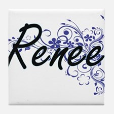 Renee Artistic Name Design with Flowe Tile Coaster