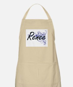 Renee Artistic Name Design with Flowers Apron