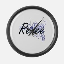 Renee Artistic Name Design with F Large Wall Clock
