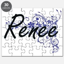 Renee Artistic Name Design with Flowers Puzzle