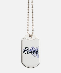Renee Artistic Name Design with Flowers Dog Tags
