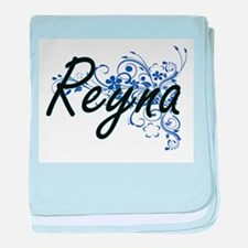 Reyna Artistic Name Design with Flowe baby blanket