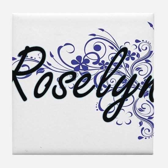 Roselyn Artistic Name Design with Flo Tile Coaster