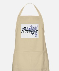 Roselyn Artistic Name Design with Flowers Apron