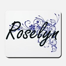 Roselyn Artistic Name Design with Flower Mousepad