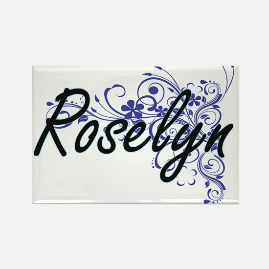 Roselyn Artistic Name Design with Flowers Magnets