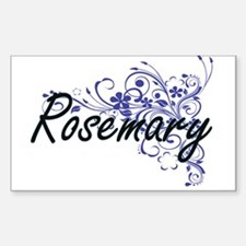Rosemary Artistic Name Design with Flowers Decal