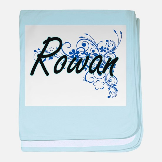 Rowan Artistic Name Design with Flowe baby blanket