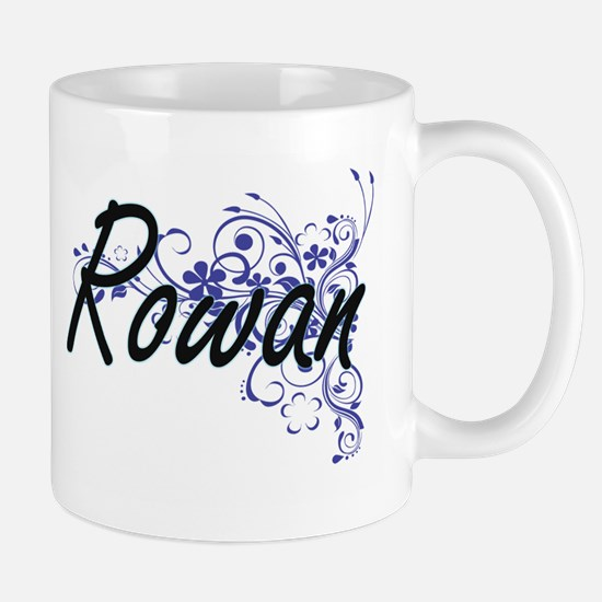 Rowan Artistic Name Design with Flowers Mugs