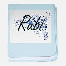 Rubi Artistic Name Design with Flower baby blanket