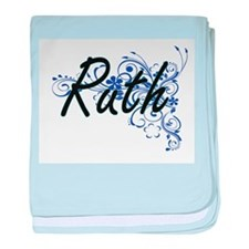 Ruth Artistic Name Design with Flower baby blanket