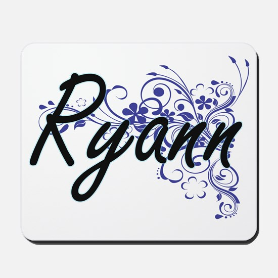 Ryann Artistic Name Design with Flowers Mousepad