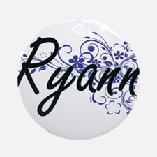 Ryann Artistic Name Design with Flo Round Ornament